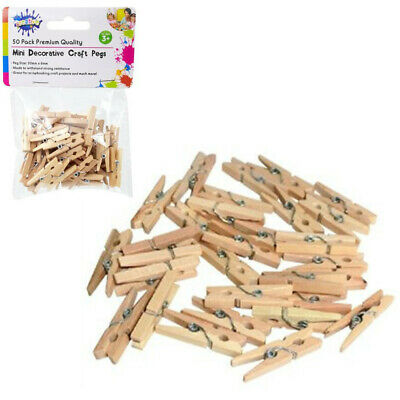 50pcs Mini Wooden Pegs Kraft Craft Mini Pegs Clothespin Natural Color Photo Baby
