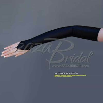 4-WAY STRETCH Matte Finish Satin Fingerless Gloves Opera Length 16BL