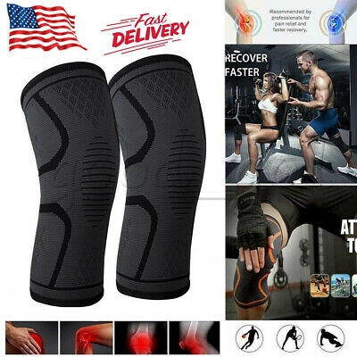 2x Knee Sleeve Compression Brace Support Sports Joint Pain Relief Neoprene US