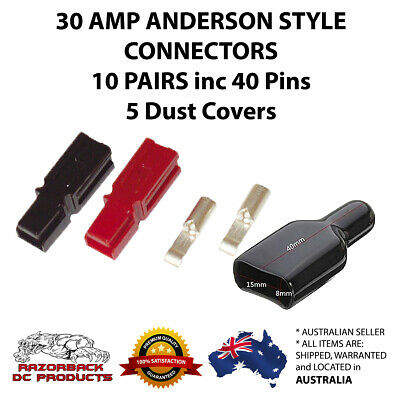 Anderson Style Powerpole 30 Amp Power Pole 10 Pairs 30A Premium with Dust Cover