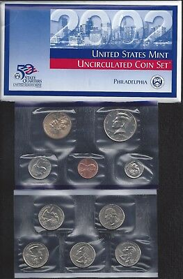 2002 Us Mint Set - P & D Uncirculated - 20 Coin Set Including 10 State Quarters