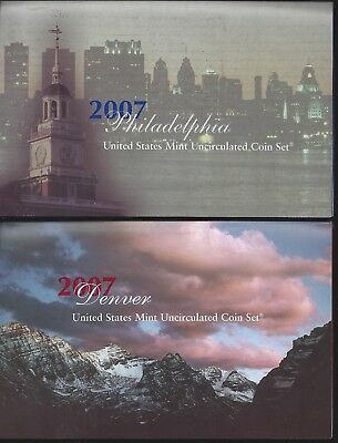 2007 Us Mint Set - P&d Uncirculated - 28 Coin Set - W/ State Quarters & $ Presid