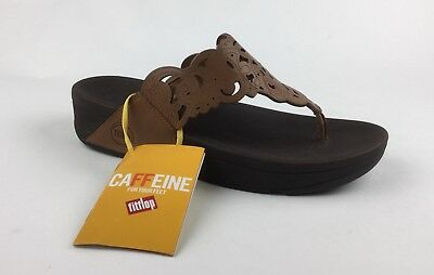 13b7f740f1b3c FITFLOP FLORA WOMENS Brown Flip Flops Sandals Wedge Heels Sz US 9 EU ...