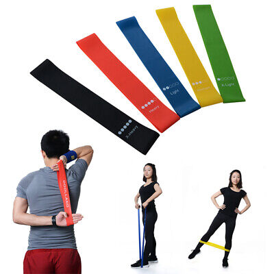 Elastic Resistance Loop Bands Yoga Exercise Gym Fitness Workout Strong Stretch