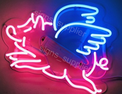 New Flying Pig Wall Decor Artwork Real Glass Acrylic Neon Light Sign 20""