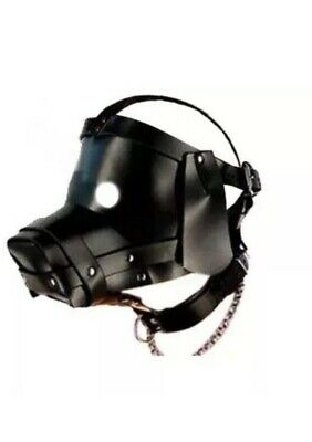 Leather Puppy Dog Head Hood Mask Corset Slave Cosplay Full Head Bondage .