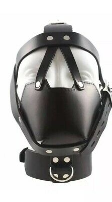 Leather Bondage Padded Face Muzzle Head Harness Locking