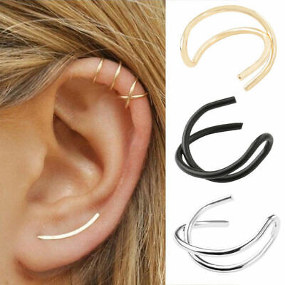 1pc Cross Leaf Ear Clip Cuff Wrap Fake Earring Stud Hoop Non Piercing Cartilage