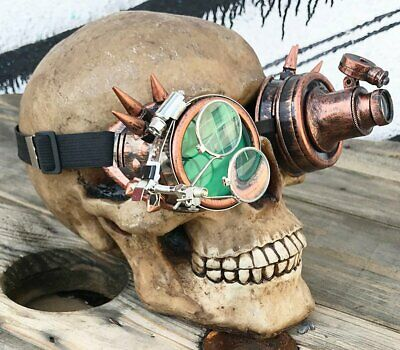 Antique Gold Cyber Steampunk Inspector Gadget Goggles With Spikes