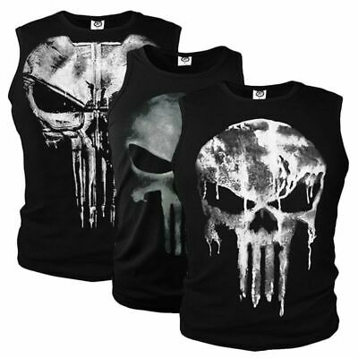The Punisher Cosplay Ghost Men's Skull Sports Tank Tops Long Sleeve T-shirts