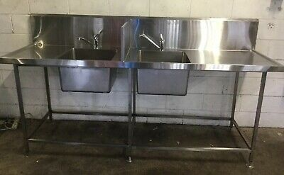 Commercial Cafe Restaurant  HIGH Grade Stainless Divided Twin Bowl Sinks & Taps