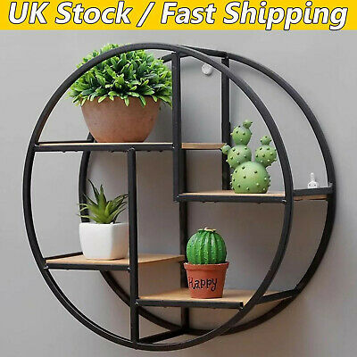 Vintage Wall Unit Retro Iron Industrial Style Metal Shelf Rack Storage Round UK