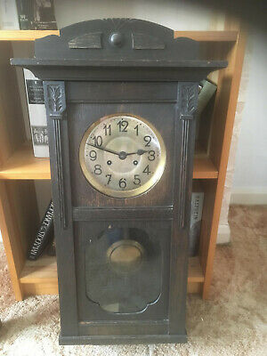 Splendid Looking Large Old Wooden Striking Wall Clock