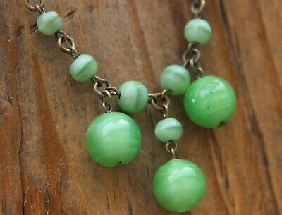 Vintage Necklace Beads Green Spun Glass Jewellery Antique Art Deco 20s Jewelry