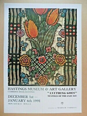 """Original Poster Hastings Museum """"Textiles of the Jazz Age"""" 1991"""