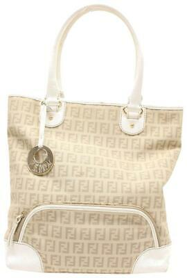 6c3d06709d71 FENDI MONOGRAM FF Zucca Ivory Shopper Cream Canvas Tote 869522 ...