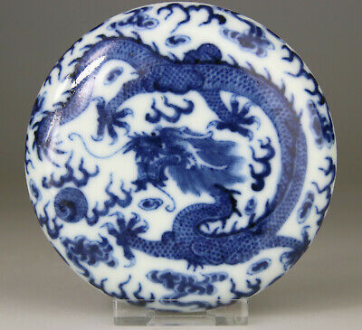 Antique Rare Chinese Porcelain Ink Box Seal Dragon Blue White - Qing 18Th 19Th