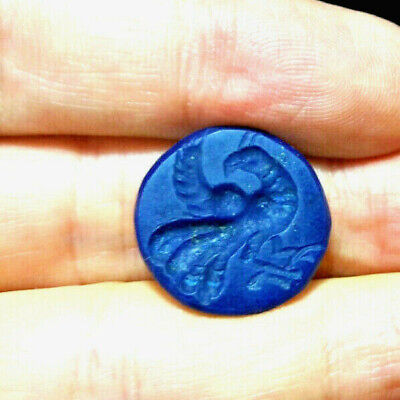 ANTIQUE Old top grade Lapis intaglio Phoenix Bird Stamp Seal round Bead Pendant