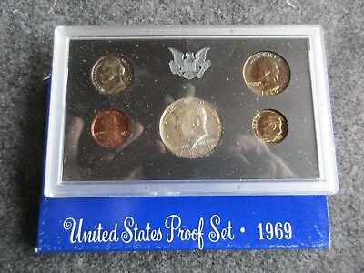 1969-S  5-Coin Proof Set, Mint Sealed, 40% Silver Half, Color Toning, #day-02882