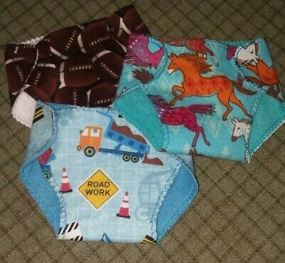 Diapers fit American Girl Bitty Baby doll clothes 3 reversible trucks footballs