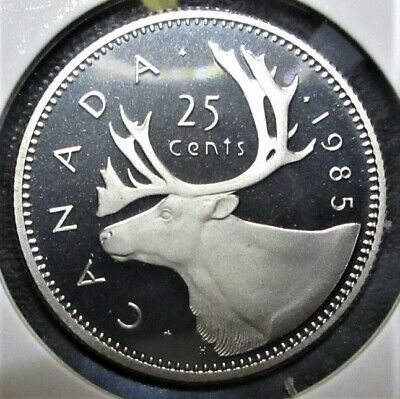 1985 25 Cent Canada Proof - Heavy Cameo - From Mint Set