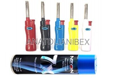 5 MK CANDLE BBQ TORCH Pipe Lighters W/ NEON 7X Butane Refill Fuel Fluid 10oz Can