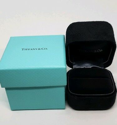 Tiffany Co Presentation Black Suede Ring Box And Blue Outer