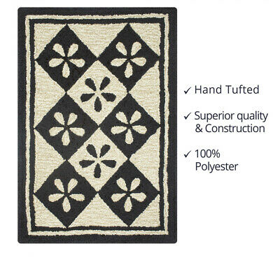Diamond Flower Ultra Wool Tufted Area Rug By Homespice Decor-2 Sizes
