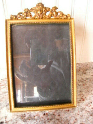 Antique Pierced Ornate Metal Brass Picture Frame Victorian Woman