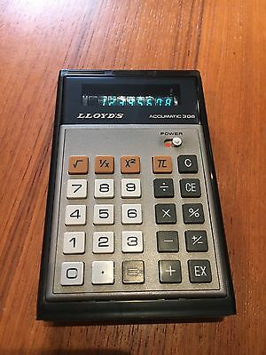 Calculatrice Vintage Lloyd's Accumatic 306 , Avec Housse , Calculator Retro Vfd