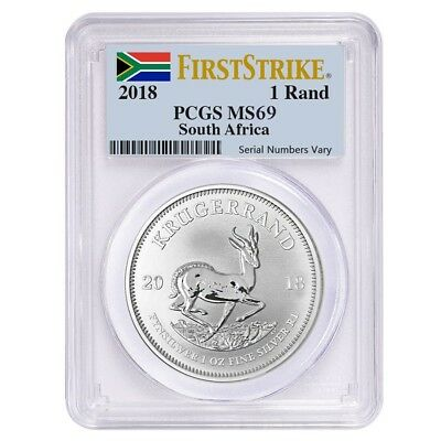 2018 South Africa 1 oz Silver Krugerrand PCGS MS 69 First Strike