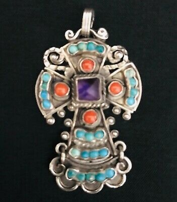 d4cd45ac524 RIVERA STERLING Silver Mexico Ornate Amethyst & Turquoise Cross ...