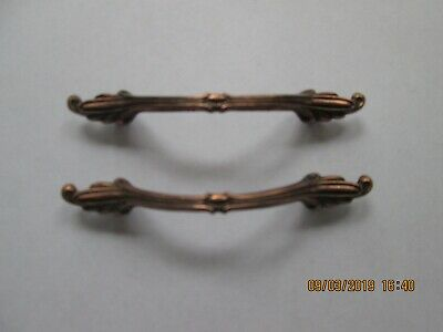 "2 Vintage French Copper Cabinet Drawer Pull Handles Ajax 4 1/2"" FREE SHIPPING"