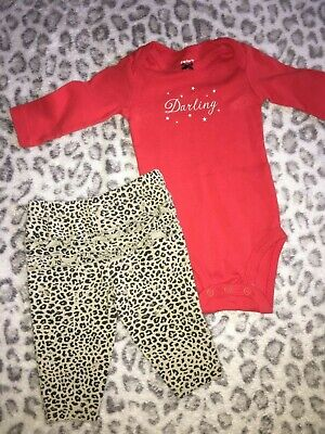 Baby Girls Size 3 Months Two Piece Outfit Set Darling Stars Leopard Print Pants