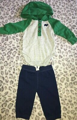 Baby Boys Size 3 Months Carter's Two Piece Outfit Set Green Navy Blue Bear Hood