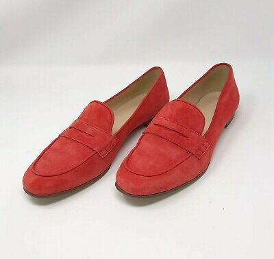 8363d77472b J.Crew Women s Charlie Penny Loafers Flame Red Suede Size 9.5 Slip On Flats