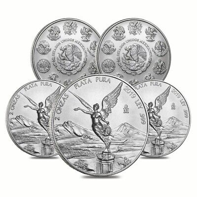 Lot of 5 - 2019 2 oz Mexican Silver Libertad Coin .999 Fine BU