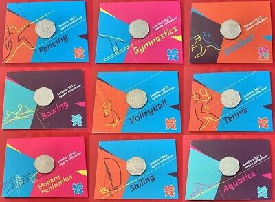 2011 Olympics BU 50p Fifty Pence Coins Sealed Official London 2012 Olympic Card