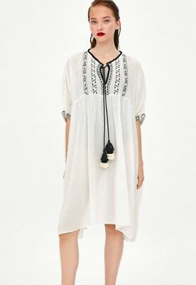 49a5a38de3 NEW Zara White Tunic Summer Beach Cover Up Bikini Dress Kimono Top XS Small  6 8