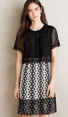 22f86ab637030 Anthropologie Marne Lace Embroidered Dress by Anna Sui, Black/White, ...