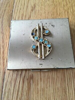 Vintage Brass Petty Cash Coins Small Box With Rhinestone Dollar Sign