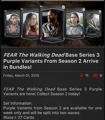 Topps FEAR Walking Dead Card Trader Purple Base Series 3 Season 2 DIGITAL Wave 1
