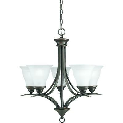 Progress Trinity 5-Light Antique Bronze Chandelier with Etched Glass