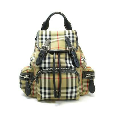 3f82ce9ad5f4 Auth BURBERRY Crossbody Rucksack in Vintage Check Antique yellow Nylon  Leather