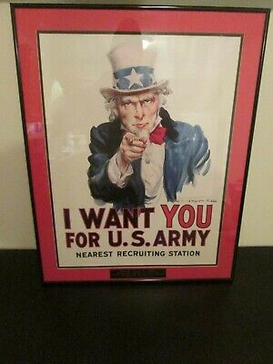 Vintage Uncle Sam Ad I Want You Iconic Usa Framed Us Army Issue