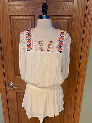 0a2def8469 Forever 21 Boho Shirt M Crochet Lace Embroidered Gauze Peasant Blouse Top