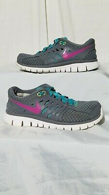 8f3208f1d930 NIKE FLEX 2013 RUN Womens Gray Pink Volt Running Athletic Shoes Size ...