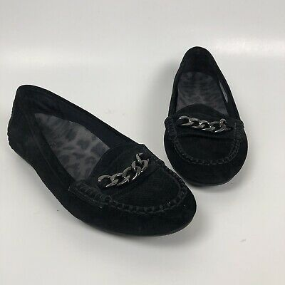 2c32a7548ce Vionic Mesa Loafers Size 7 38 Black Suede Driving Flats Moc Comfort Shoes  Chain