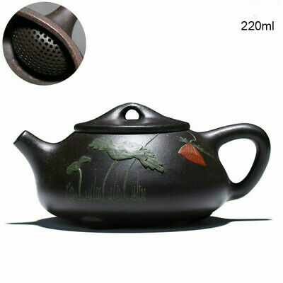 chinese Yixing Purple Clay Tea Pot 220Ml Zisha Clay Handmade Black Kung Fu