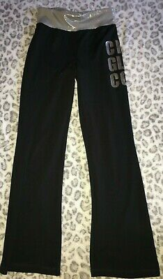 Girls 8 Stretch Black Active Wear Athletic Pants Justice Chic Glam Cool Silver !